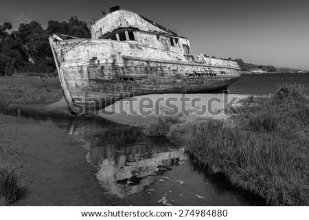Shipwreck, Abandoned Wooden Boat Black and white - stock photo