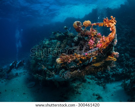 Shipwreck among coral reefs. Southern Red Sea.  - stock photo