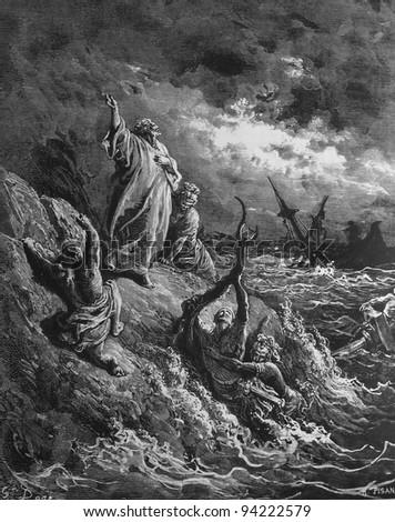Shipwreck at Malta. 1) Le Sainte Bible: Traduction nouvelle selon la Vulgate par Mm. J.-J. Bourasse et P. Janvier. Tours: Alfred Mame et Fils. 2) 1866 3) France 4) Gustave Doré - stock photo