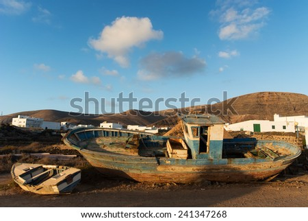 Shipwreck at Orzola, Lanzarote, Canary Islands, Spain.