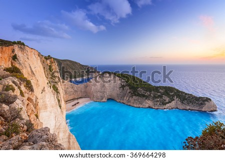 Shipwreck beach at sunset on Zakynthos Island, Greece - stock photo
