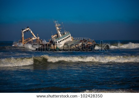 Shipwreck in namibia - stock photo