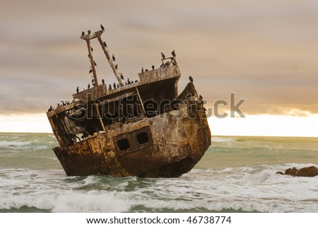 Shipwreck of the coast of South Africa near Agulhas - stock photo
