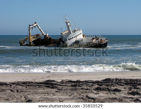 Shipwreck on beach