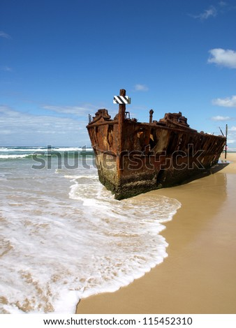 Shipwreck on the beach of Fraser island, Australia