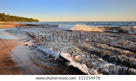 Shipwreck on the shores of Lake Superior, Pictured Rocks National Lakeshore - stock photo