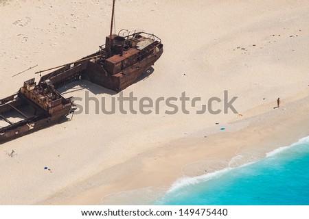 Shipwreck Panagiotis in Zakynthos Bay, Greece - stock photo
