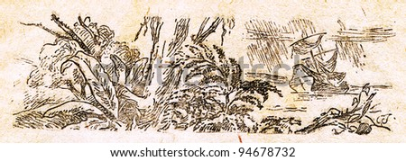 """shipwrecked near a tropical island - an illustration from the book """"In the wake of Robinson Crusoe"""", Moscow, USSR, 1946. Artist Petr Pastukhov - stock photo"""