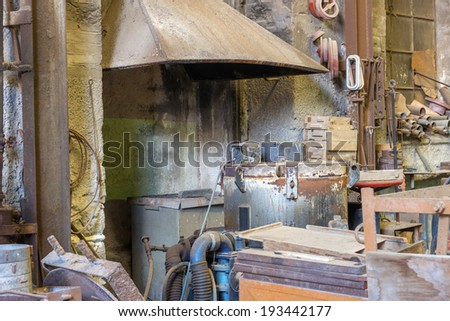 Shipyard industrial area and machinery tools