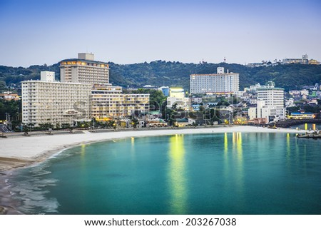Shirahama, Japan skyline at the beachfront resorts. - stock photo