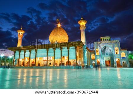 SHIRAZ, IRAN - March 01, 2016: Shah Cheragh mosque after sunset. Shiraz, Iran - stock photo