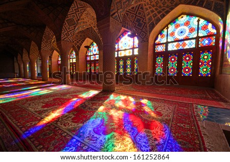 SHIRAZ, IRAN � OCTOBER 9: Nasir-al-Molk Mosque on October 9, 2013 in Shiraz, Iran. Nasir-al-Molk Mosque was built between 1871-1883 by order of Haj Hassan Ali Khan-e-Nasir -al-Molk. - stock photo