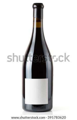 Shiraz red wine in Burgundy style bottle, isolated on white - stock photo