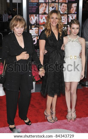 """Shirley MacLaine (left), Julia Roberts & Emma Roberts at the world premiere of """"Valentine's Day"""" at Grauman's Chinese Theatre, Hollywood. 02-08-10  Los Angeles, CA Picture: Paul Smith / Featureflash - stock photo"""