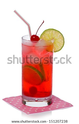 Shirley Temple cocktail drink on a pink napkin against a white background. - stock photo