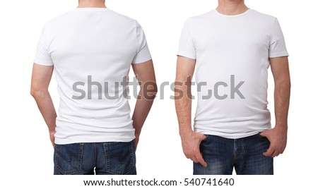 Shirt design and people concept - close up of man in blank white t-shirt  front and rear isolated. Clean empty mock up for design set.