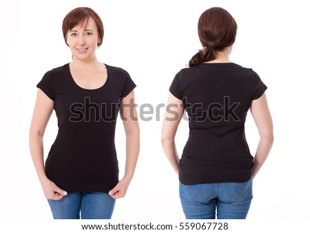 Shirt design and people concept - close up of woman in blank black t-shirt front and rear isolated. Clean empty mock up template for design.