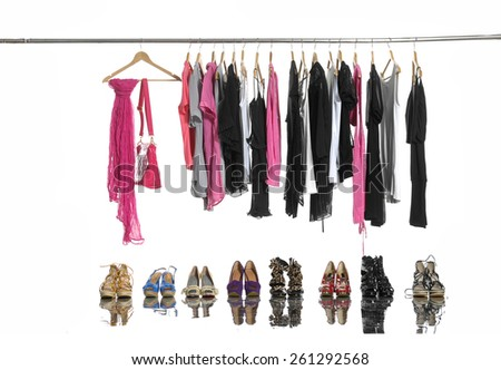 Shirt,scarf ,bag and Variety of fashion female clothes hangers and shoes