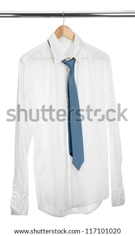 shirt with tie on wooden hanger isolated on white