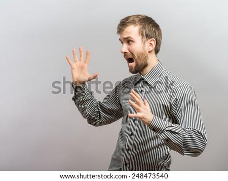 Shirtless Man Screaming  - stock photo