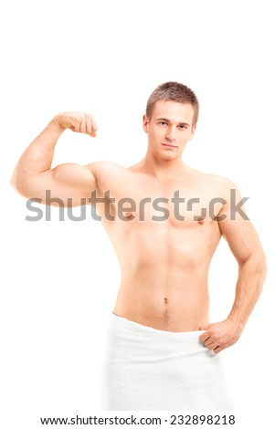 Shirtless man showing his bicep isolated on white background