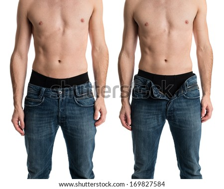 Shirtless man with jeans zipped and unzipped. - stock photo