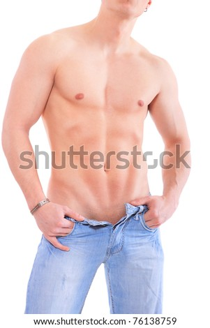 Shirtless muscular male isolated on white - stock photo