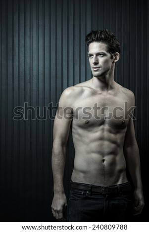 Shirtless Toned Muscular Caucasian Male - stock photo
