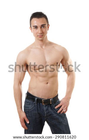shirtless young man with muscular toned body fitness concept - stock photo