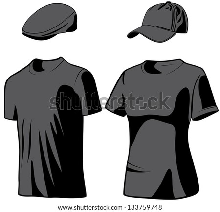 Shirts and hats. Raster version, vector file available in portfolio. - stock photo