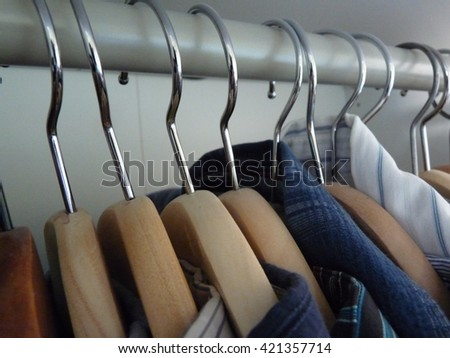 Shirts on the clothes rail