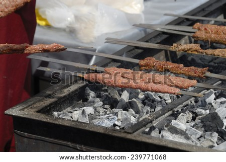 shish kebab are grilled  - stock photo