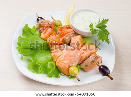 Shish Kebab from  Salmon  with Vegetables
