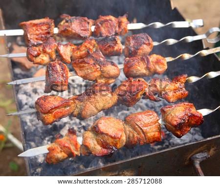shish kebab on skewers - stock photo