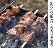 Shish kebab preparing on fire - stock photo