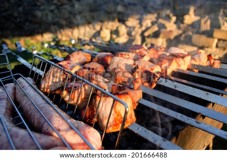 Shish kebab roasting on the grill on the street as smoke. Delicious sausages on a charcoal fire. - stock photo