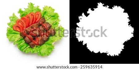 Shish kebab, tomato and green salad on white background. Clipping mask. - stock photo