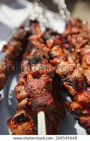 Shish kebab with the mix of spices cooking on bbq - stock photo