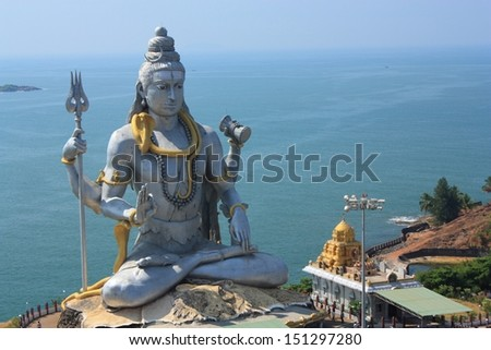 Shiva Statue in Murudeshwar, Karnataka, India. - stock photo