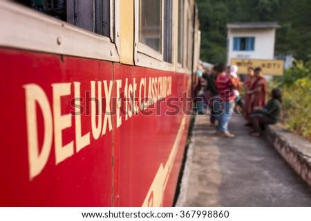 Shivalik Deluxe Express ? train  from Kalka to Shimla, India  - stock photo