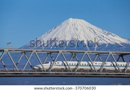 Shizuoka - JAN 13: Shinkansen bullet train and Mountain Fuji on JAN 13 ,2015 , Shizuoka ,Japan. Shinkansen is world's busiest high-speed railway operated by four Japan Railways companies.  - stock photo
