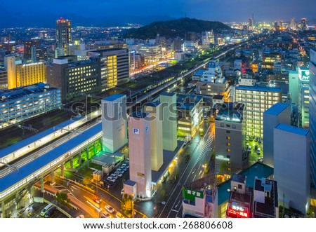 SHIZUOKA, JAPAN - APRIL 3: Shizuoka city on April 3, 2015 in Shizuoka, Japan. Shizuoka city is one of the tourist attraction for close look of Mt Fuji. With over 2 million people visiting each year - stock photo