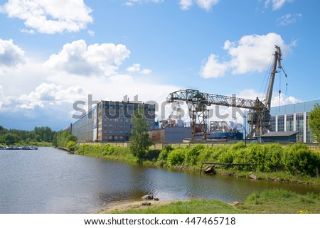 SHLISSELBURG, RUSSIA - JUNE 05, 2016: Sunny day in July at the Nevsky Shipyard
