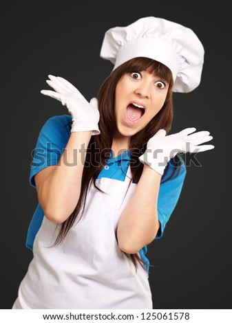 Shock To Woman On Cooking Time On Black Background