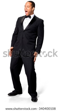 Shocked African man with short black hair in evening outfit screaming - Isolated