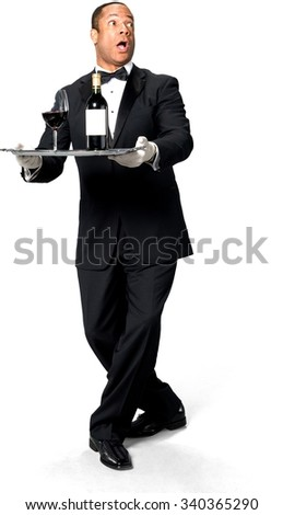 Shocked African man with short black hair in uniform holding tray - Isolated