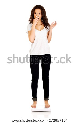 Shocked african woman standing on a scale. - stock photo