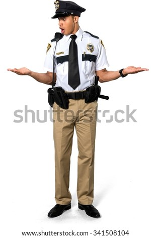 Shocked African young man with short black hair in uniform holding invisible object - Isolated - stock photo