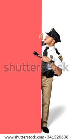 Shocked African young man with short black hair in uniform using large sign - Isolated