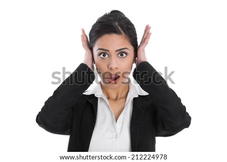 Shocked and desperate isolated indian woman forgot something. - stock photo